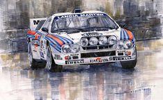 Yurly Shevchuk   WATERCOLOR    Lancia 037 Martini Rally 1983 Painting