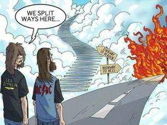 Led Zeppelin - Stairway to Heaven. AC/DC - Highway to Hell Memes Undertale, Goodbye My Friend, Metal Meme, Rock Poster, Highway To Hell, Power Metal, Nu Metal, Black Metal, Humor Grafico