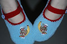 two things I LOVE...red and aqua and sock monkeys!