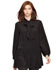 Silk Ascot-Collar Shirt - Polo Ralph Lauren Long-Sleeve - RalphLauren.com