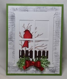 Impression Obsession tree, MFT fence die, The Cat's Pajama's bird stamp, Tim Holtz brick embossing folder. by katie