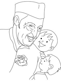 Jawaharlal Nehru Sketch With Rose   Www.pixshark.com - Images Galleries With A Bite!