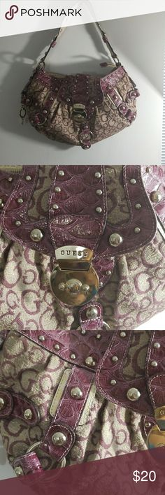 """VINTAGE GUESS HANDBAG Purple & Gold """"G"""" Monogram All Over Croc Skin Very Spacious  Not to bulky Guess Bags"""