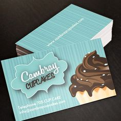 Cupcake bakery business cards this great business card design is pretty cupcake business card you can customize this card with your own text logo reheart Images