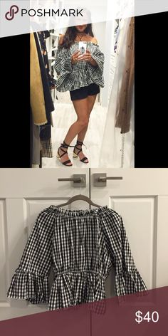 Gingham Off Shoulder Top Chicwish Gingham Off the Shoulder top.  No longer available online - worn one time for only an hour.  With elastic at neck and bell sleeves - one size.  Please let me know if you have any questions or for additional photos. MP✌️💕👠 Tops Blouses