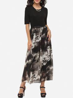 Crew Neck Chiffon Dacron Patchwork Maxi Dress Only $25.99- fashionme.com…