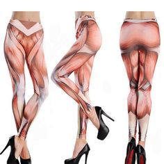 Funny High Waist Fitness Muscle Pattern Yoga Tattoo Women Pant Stretch Cropped Leggings