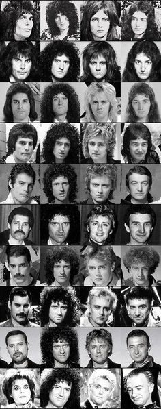 Queen through the years. Notice how Brian's hair never changes? (In fact it is still the same only a lovely silver)