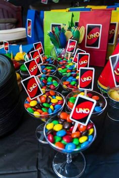 Luciano's uno themed birthday party #miniunocards #m&ms #treattable