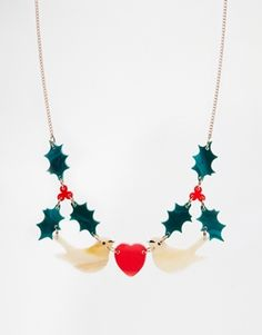 Tatty Devine Noel Holly Christmas Necklace -- This company out of UK makes amazing costume jewelry
