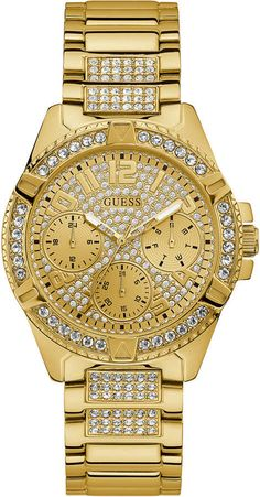 Shop for Rhinestone Gold-Tone Multifunction Watch by GUESS at ShopStyle. Bracelet Cuir, Bracelet Watch, Gold Watches Women, Swiss Army Watches, Expensive Watches, Beautiful Watches, Elegant Watches, Stylish Watches, Cool Watches
