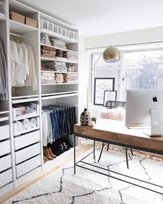 49 Creative Closet Designs Ideas For Your Home. Unique closet design ideas will definitely help you utilize your closet space appropriately. An ideal closet design is probably the only avenue towards . Closet Office, Closet Bedroom, Closet Space, Office Wardrobe, Bedroom Into Dressing Room, Ikea Dressing Room, Bedroom Office Combo, Wardrobe Room, Guest Room Office