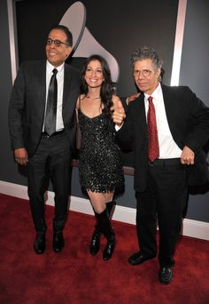 Stankley Clarke, Linda Chorney and Chick Corea arrive to the 54th Annual GRAMMY Awards on Feb. 12 in Los Angeles