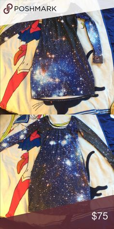 Black Milk Clothing Blue Galaxy dress Long sleeve blue Galaxy body con by black milk clothing. Size large. Blackmilk Dresses Long Sleeve