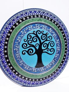 Tree of life art 11.5  Wall decor Wooden plate Bohemian decor Decorative plate by CozyHome1 & Tree of life art 11.5