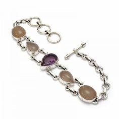 Amethyst and rose quartz silver bracelet - Silver Jewellery Ireland Silver Bracelets, Silver Jewelry, Irish Jewelry, Emerald Isle, Birthstone Jewelry, Rainbow Moonstone, Rose Quartz, Birthstones, February