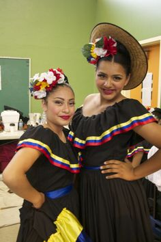 Ballet Folklorico Resurreccion - 2 of our girls being silly in the dressing room.