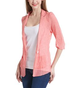 Another great find on #zulily! Pink Lace-Back Blazer #zulilyfinds