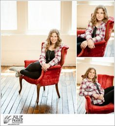Julie Prairie Photography in Studio - love our white brick, loved her red flannel with our red velvet chair! Senior style guide