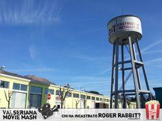 """Gli edifici bassi e regolari di questo scorcio di Ex Olcese ricordano gli esterni dei teatri di posa più celebri, ma è il grande serbatoio che più di ogni cosa richiama gli Studios di Hollywood! In """"Chi ha incastrato Roger Rabbit?"""", l'epilogo avviene nell'immaginaria Cartoonia, in una location ispirata proprio ai mitici Warner Bros Studios. Non è il marchio WB a campeggiare nella foto, ma il logo di O&T Costruzioni Metalliche, bella realtà aziendale nel panorama della carpenteria bergamasca. Carpenteria, Roger Rabbit, Metallica, Ferris Wheel, Bella, Grande, Hollywood, Movie, Film"""