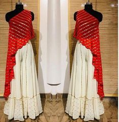 Red Crop Top Bottom plazo indian dress red and white color function wear Wedding wear party wear skirt lengha choli Lehenga Designs, Kurta Designs, Kurti Designs Party Wear, Blouse Designs, Crop Top Designs, Indian Fashion Dresses, Indian Gowns Dresses, Dress Indian Style, Indian Designer Outfits