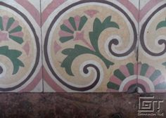 Pink and Green Floral Detail #1 in La Habana Cement Tile Floors