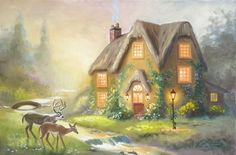 DEER COTTAGE by RUSTY RUST 24x36 original oils on canvas painting / D-162