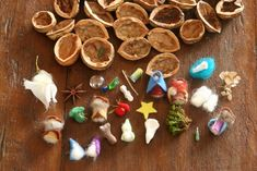 inside 24 gold painted walnut shells are little wee treasures to be… Christmas Nativity, Christmas Deco, Handmade Christmas, Christmas Time, Christmas Ornaments, Walnut Shell Crafts, Waldorf Crafts, Little Presents, Pine Cone Crafts