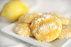 lemon cookies made with a box of cake mix and cool whip