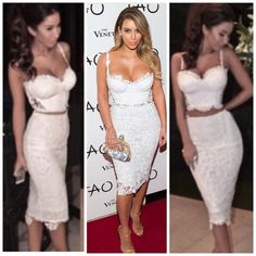 🦋🎉HP Two-Pc White Dress🦋 💕NWOT!! Super  sexy!  🌿Lace, Cropped Top & Long Sexy Skirt!..  So gorgeous... Kim Kardashian inspired White Lace SPaghetti Straps See Through 2 Piece Set...💕 top zips in the back as well as skirt. Lace Bandage set. 💕.... #2 photos are exact look of this gorgeous 2 piece dress! 🌿...🎉🎉STYLES STAPLES PARTY - HP 5/8/16🎉🎉😁🌿🌷 Dresses