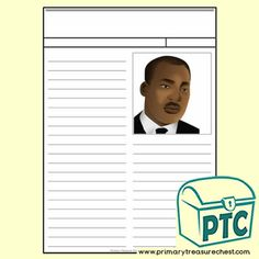 Martin Luther King Jr. Day Printables - MLF Resources - - Primary Treasure Chest Teaching Activities, Teaching Resources, Activities For Kids, Crafts For Kids, Teaching Ideas, Kindergarten Crafts, Preschool, King Jr, Martin Luther King