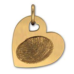 14k Yellow Gold Large Heart with Fingerprint by Imprint On My Heart Fingerprint Jewelry