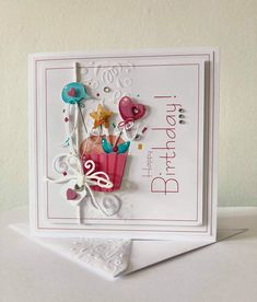 Birthday Cards For Women, Happy Birthday Cards, Birthday Wishes, Pretty Cards, Cute Cards, Tattered Lace Cards, Fancy Fold Cards, Embossed Cards, Square Card