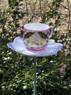 Mini Purple & Pink Teacup Bird Feeder Yard Art