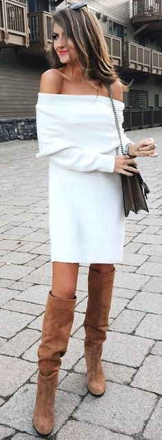 Off the shoulder sweater dress. | Fashion part 1 | Pinterest ...