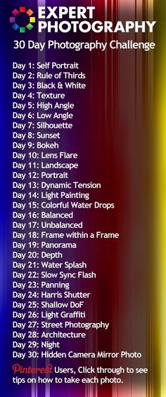 30 Day Photography Challenge Project – challenge with accompanying how-to tutorials. 30 Days Photography Challenge: Challenge yourself!Concrete tree DIY day photography challengeJoin in on Our Photography Challenge and WIN! Photography Challenge, Photography Lessons, Photography Projects, Camera Photography, Photography Tutorials, Creative Photography, Digital Photography, Photography Business, Portrait Photography
