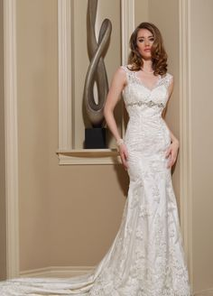DaVinci Collection, Lace straps/ Fit & Flare  -- Lasting Impressions Bridal and Formal Wear -- Sioux Falls, SD