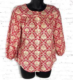 Ann Taylor Loft Women's Fashion Size XXSP Petite Blouse Button Down Print Top D5 #AnnTaylorLOFT #Blouse