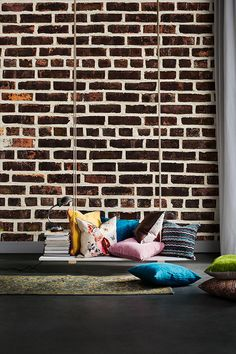 """The Beautiful brick wall """"Harlem"""" is perfect in a bohemian home. Photo Wallpaper, Wallpaper Ideas, Staircase Wall Decor, Order Photos, Wallpaper Online, Brick Wall, Wall Murals, Design Trends, Bohemian"""
