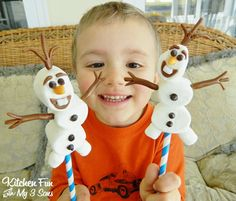 Kitchen Fun With My 3 Sons: Easy Olaf Marshmallow Pops from the ...