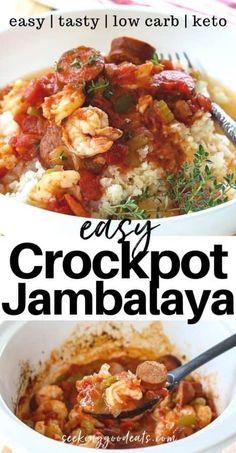 Low Carb Jambalaya Recipe, Jambalaya Crockpot, Sausage Crockpot Recipes, Smoked Sausage Recipes, Seafood Jambalaya Recipe Slow Cooker, Shrimp Slow Cooker, Diabetic Slow Cooker Recipes, Easy Healthy Crockpot Recipes, Healthy Slow Cooker