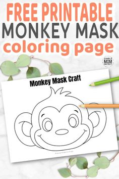 These cute and FREE baby monkey face masks areis perfect for kids of all ages. There's hours of playtime with our full colored and monkey mask coloring sheet! Safari Animal Crafts, Giraffe Crafts, Monkey Crafts, Monkey Coloring Pages, Summer Coloring Pages, Crafts For Kids To Make, Craft Activities For Kids, Craft Ideas, Monkey Template