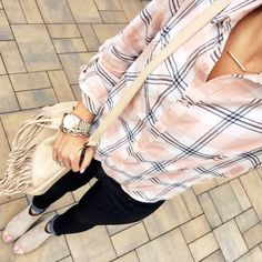IG @mrscasual <click through to shop this look> light pink and blue spring plaid. Banana republic denim leggings. Peep tote ankle booties. Nude fringe bucket bag. Bar necklace.