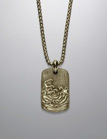 David Yurman Waves Tag necklace for men: yellow gold Men Necklace, Dog Tag Necklace, Pendant Necklace, High Jewelry, Luxury Jewelry, David Yurman, Innovation Design, Jewelry Watches, Jewelry Design