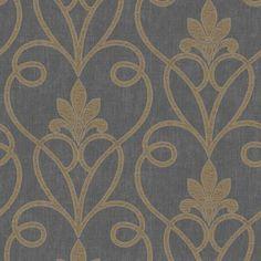 Fine Decor Tuscany Damask Wallpaper Black / Gold