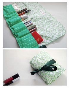 Cosmetics / Makeup Roll - green day - Cosmetics organizer holder roll