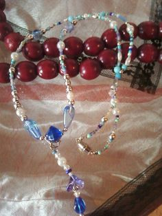 Blues White Necklace Matching Earrings Purple Bud by RaptRabbitArt, $15.00