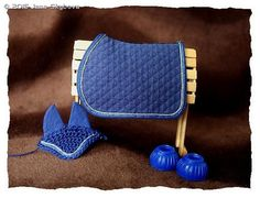 Navy Blue Saddle Pad With Double Piping by Jana Skybova - model horse tack