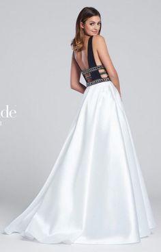 Ellie Wilde for Mon Cheri EW117144 V Neck and Sides Prom Dress- BACK VIEW