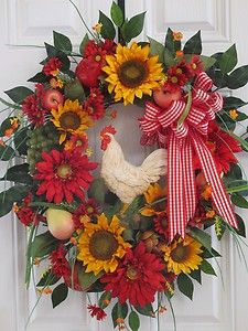 Tuscan Wreath,Rooster,Sunflowers,Kitchen Spring Summer Wreath, Front Door Wreath